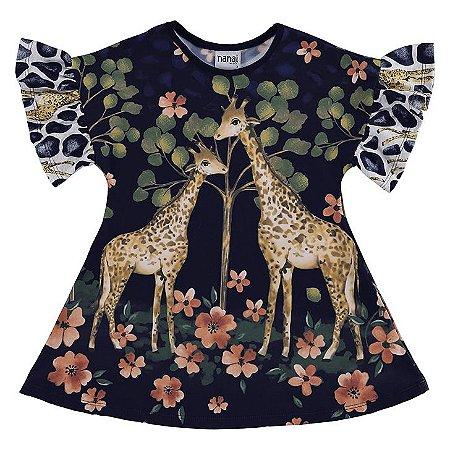 Vestido Infantil Nanai Malha Sublime Girafas Azul Marinho - 600441