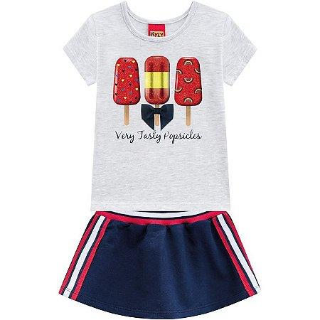 Conjunto Infantil Short Saia e Camiseta Kyly 110231