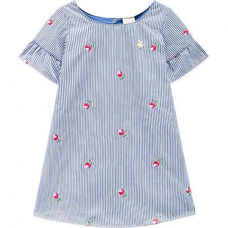 Vestido Infantil Bordado Milon Azul 11748