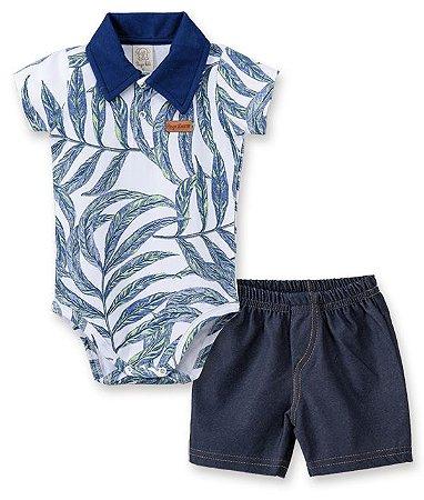 Conjunto bebê Body Curto Gola Polo e Short Cotton Jeans 66141