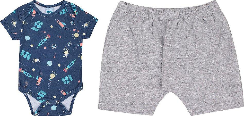 Pijama Body Manga Curta + Short -  Azul Marinho 5134