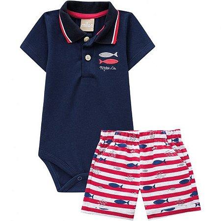 Conjunto Infantil Masculino Body  Polo + Bermuda Milon  11772