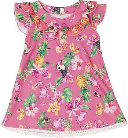 Vestido Flamingo para Bebê Rosa Serelepe  5521