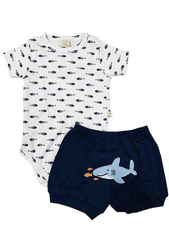 Conjunto Bebê Body Curto + Short Tubarão Pingo Lelê 66385