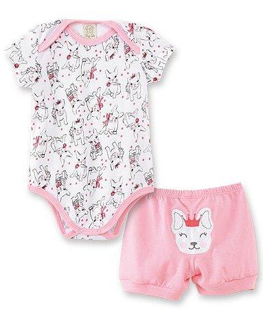 Conjunto Body Curto + Short em Malha para Bebê Pingo Lelê 76003
