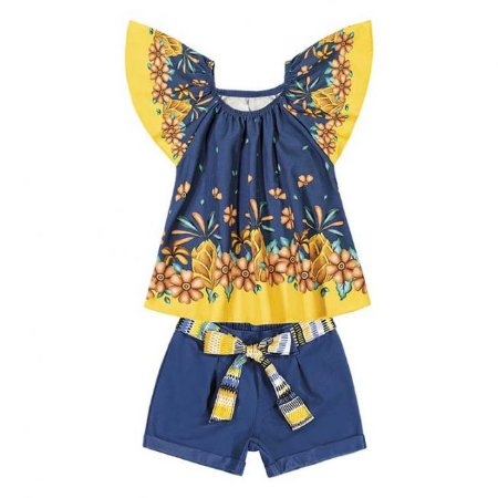 Conjunto Infantil Blusa +  Short Azul Nanai  600252