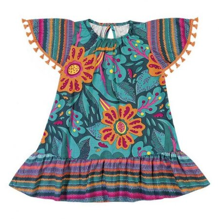 Vestido infantil Floral Nanai Verde 600246