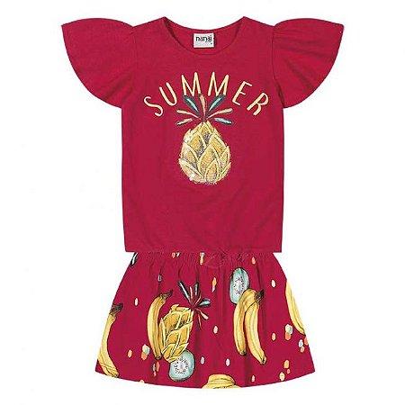 Conjunto Infantil Short Saia + Blusa Vermelho Nanai 600251
