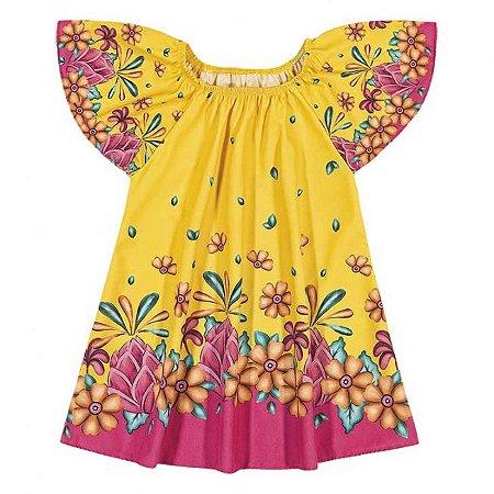 Vestido Infantil Floral Amarelo Nanai 600250