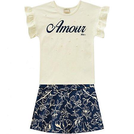 Conjunto Infantil Short Saia + Camiseta Amarela Milon 11752
