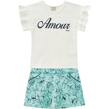 Conjunto Infantil Short Saia + Camiseta Off White Milon 11752