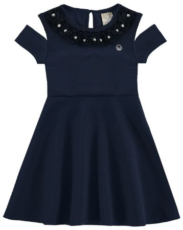 Vestido Infantil Jacquard Azul Milon 10841
