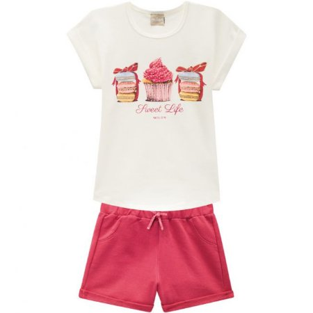 Conjunto Infantil Short Moletinho Vermelho + Blusa Milon 11743