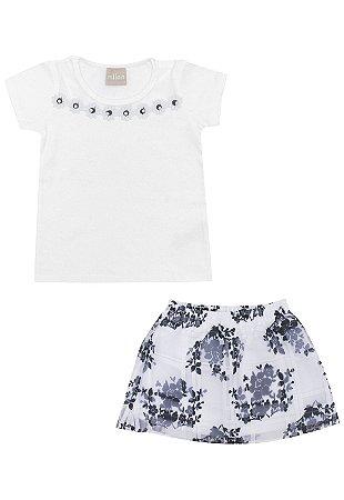 Conjunto Infantil Short Saia + Blusa Azul Milon 11093