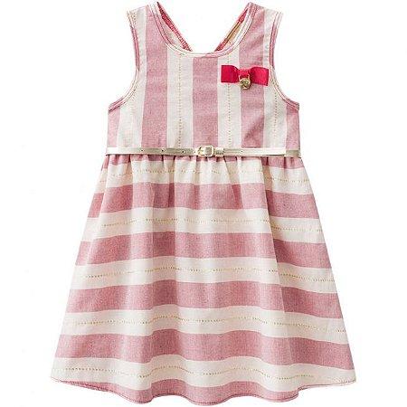 Vestido Infantil Vermelho com Cinto Milon 11088