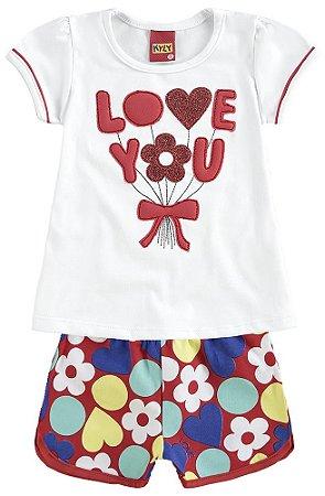 Conjunto Infantil Short + Camiseta Branca Kyly 109125