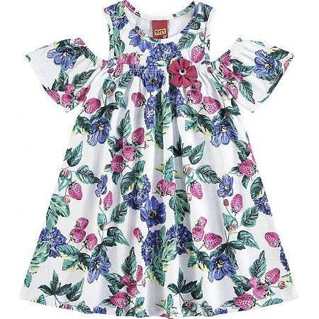 Vestido Infantil Branco Flores Kyly 109336
