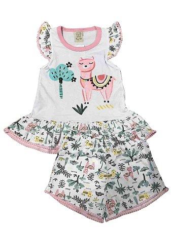 Pijama Infantil Short + Camiseta Lhama Pingo Lelê 76069