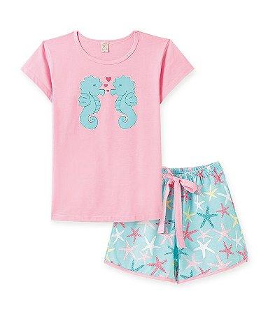 Pijama Infantil Short + Camiseta Cavalo Marinho Pingo Lelê 76082