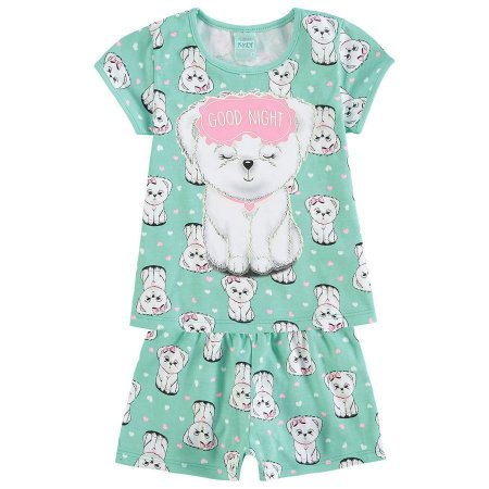 Pijama Infantil Camiseta + Short Verde Brilha no Escuro Kyly 109432