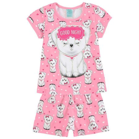 Pijama Infantil Camiseta + Short Rosa Brilha no Escuro Kyly 109432