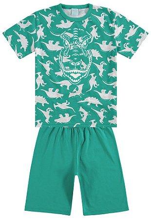 Pijama Verão Dinossauro Verde Brilha no Escuro Kyly 109290
