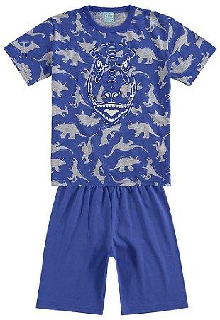 Pijama Verão Dinossauro Azul Brilha no Escuro Kyly 109290
