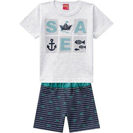 Conjunto Infantil Short Moletinho Verde + Camiseta Kyly 109716