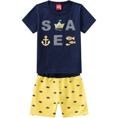 Conjunto Infantil Short Moletinho Amarelo + Camiseta Kyly 109716