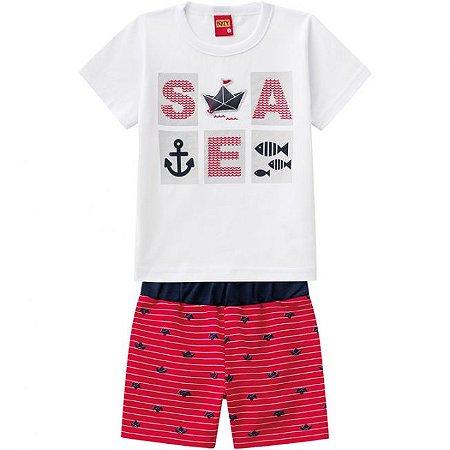 Conjunto Infantil Short Moletinho Vermelho + Camiseta Kyly 109716