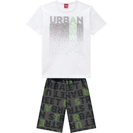 Conjunto Infantil Short Moletinho + Camiseta Branca Kyly  109768