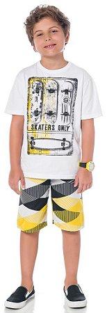 Conjunto Infantil Camiseta Branca + Bermuda Tactel Kyly 108754