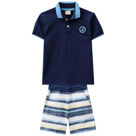 Conjunto Infantil Blusa Gola Polo Azul  + Bermuda Sarja Milon 11173
