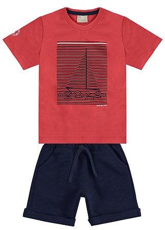 Conjunto Infantil Camiseta + Bermuda Moletinho Milon 10944