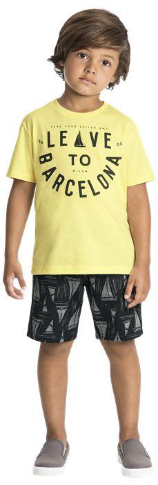 Conjunto Infantil Masculino Short Moletinho + Camiseta Milon 10966