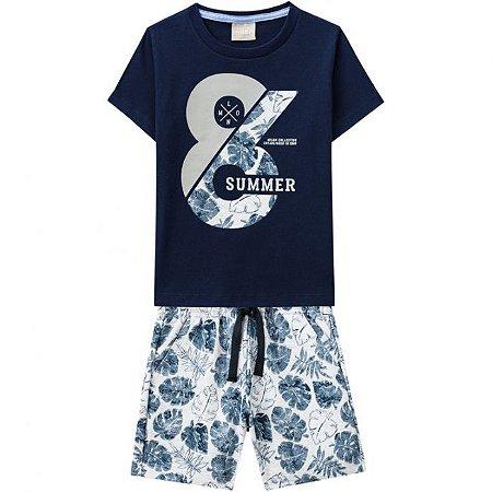 Conjunto Infantil Masculino Short Moletinho + Camiseta Azul Milon 11787