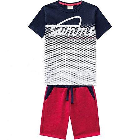 Conjunto Infantil Bermuda Vermelha Moletinho + Camiseta Milon 11813