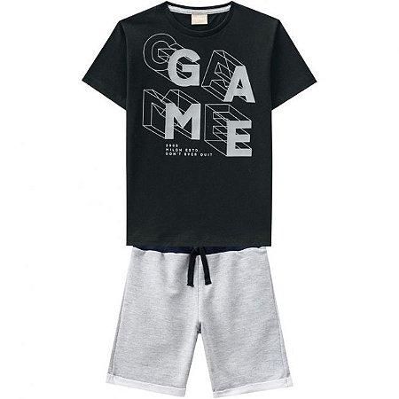 Conjunto Infantil Camiseta Preta + Bermuda Moletinho Milon 11818