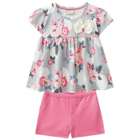 Conjunto Infantil Short Malha e Bata Floral Milon 11067