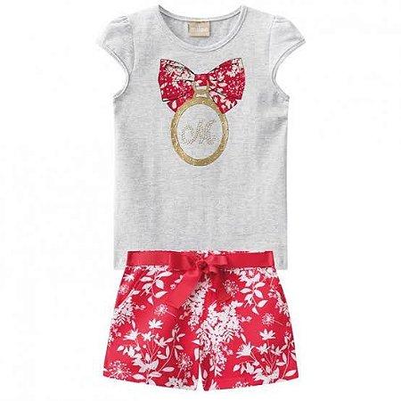 Conjunto Infantil Laço Short Vermelho + Blusa Milon 11128