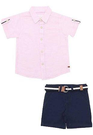 Conjunto Infantil Masculino Camisa Rosa e Bermuda em Sarja com Cinto Milon 11223