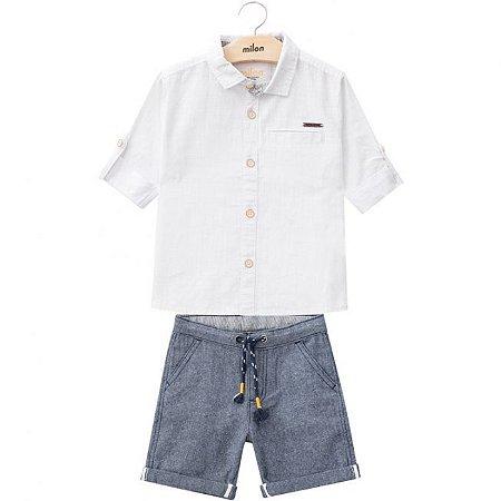 Conjunto Bermuda Sarja + Camisa Tricoline Branca Milon 11807