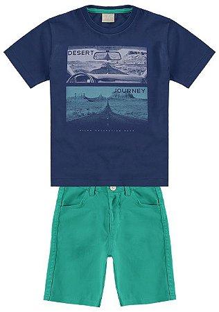 Conjunto Camiseta Azul  + Bermuda Sarja Milon 10974