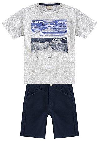 Conjunto Camiseta Mescla + Bermuda Sarja Milon 10974