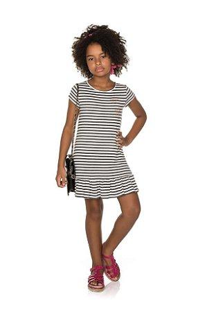 Vestido Infantil Listrado Pega Mania 52097
