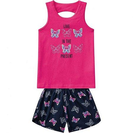 Conjunto Infantil Regata + Short Malha Kyly Pink 109682
