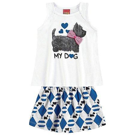 Conjunto Infantil Regata Branca + Short Saia Kyly 109322