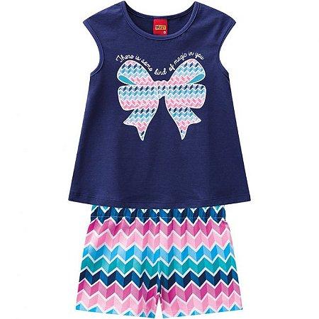 Conjunto Infantil Blusa Pink Laço + Bermuda Kyly 109645