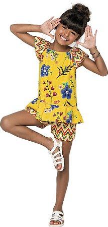 Conjunto Infantil Blusa + Short Viscose Amarelo Nanai 600051