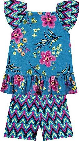 Conjunto Infantil Blusa + Short Viscose Azul Nanai 600051